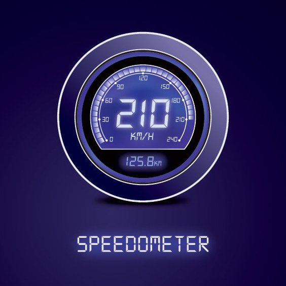 Digital Speedometer - Free vector #211185