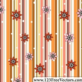 Retro Seamless Stripe Pattern With Flowers - vector #211335 gratis