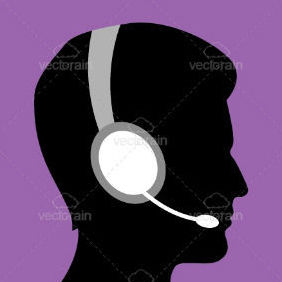 Silhouette Of Man With Headsets - vector gratuit #211455