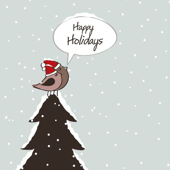 Happy Holidays Birds - Free vector #211685