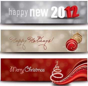 Happy Holidays Banners - vector gratuit #211715