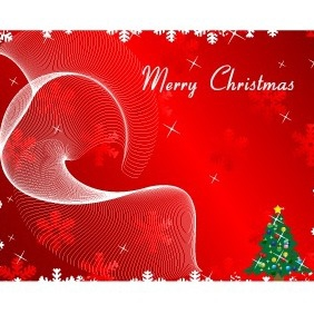 Merry Christmas Greeting Card On Red Background Vector - Free vector #211955