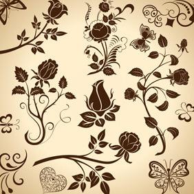 Vintage Floral Elements - Free vector #212185