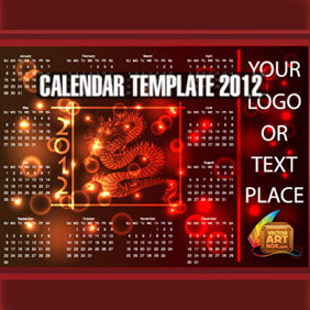 Dragon Calendar Template Of 2012 - Free vector #212455