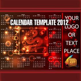 Dragon Calendar Template Of 2012 - vector #212455 gratis