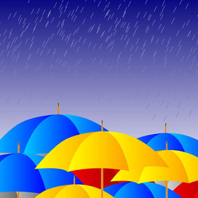 Umbrellas In The Rain - vector gratuit #212755