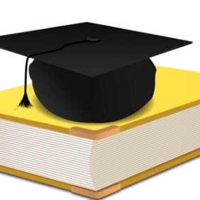 Graduation Hat On Book - Free vector #213345