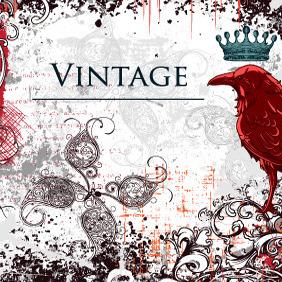 Free Vector Vintage Illustration With Raven - vector #213455 gratis