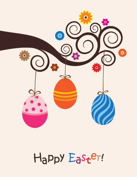 Cute Easter Card - Free vector #213745