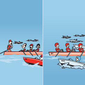 Funny Rowing Race - vector gratuit #213795