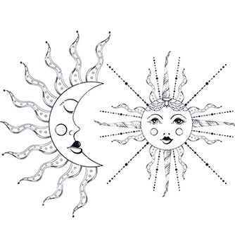 Free boho elegant sun and vintage moon tattoo zentangle vector - Free vector #213915