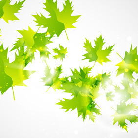 Abstract Green Leaf Background - Free vector #214315