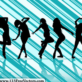Dancing Girl Silhouettes With Striped Background - бесплатный vector #214755