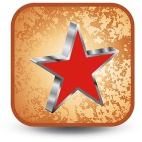 Red Star - Vector Button - vector gratuit(e) #215325
