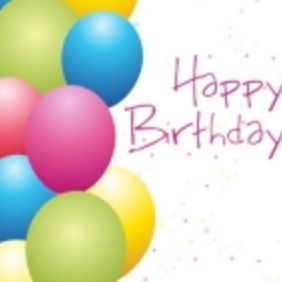 Birthday Card With Balloons - vector gratuit #215495