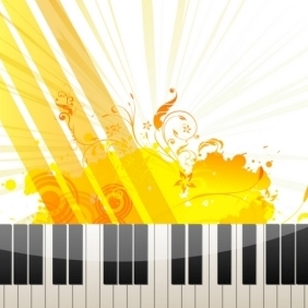 Piano Keys On Abstract Background - Free vector #215585