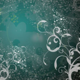 Transparent Flowers In Dark Green Design - vector gratuit #215645