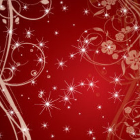 Red Swirls And Stars Vector Graphic - Free vector #215675