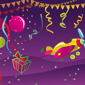 Happy Birthday Postcard - vector gratuit #215825