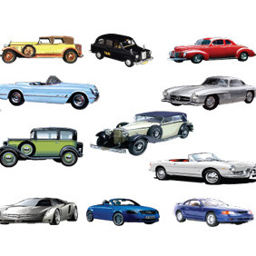 Old Retro Vector Cars - vector gratuit #216025