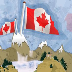 Canadian Landscape Postcard - vector gratuit #216475