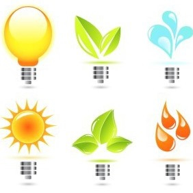 Light Bulbs With Various Elements - vector gratuit #217405