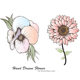 Hand Drawn Flower 11002 - Free vector #217415