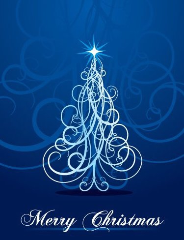 Swirly Christmas Tree - vector gratuit #217535
