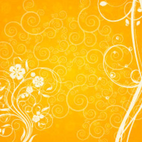 Orange Floral Swirly Shape Vector Background - Kostenloses vector #217815