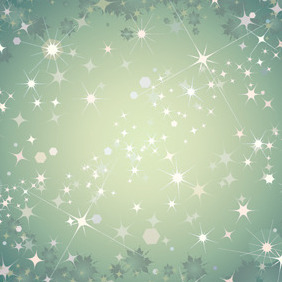 Abstract Green Background With Stars - Free vector #218345
