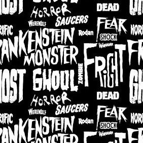 A Seamless Typography Horror Pattern - Free vector #218415