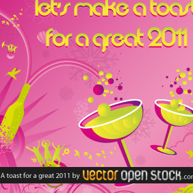 A Toast For A Great 2011 - Free vector #218795