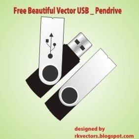 Beautiful Vector USB Pendrive - бесплатный vector #219155