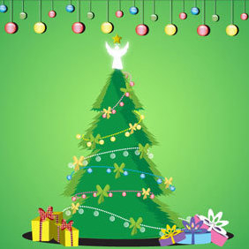 Christmas Tree Vector Graphic - Kostenloses vector #219345
