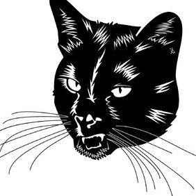 Balck Cat Head Vector - Free vector #219375