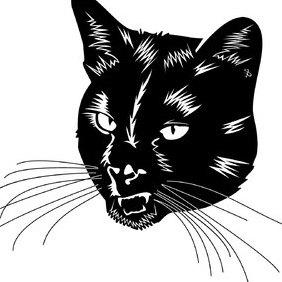 Balck Cat Head Vector - Kostenloses vector #219375