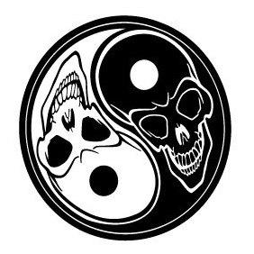 Ying Yang Skulls - Free vector #219675