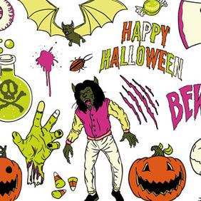 Psychedelic Halloween Vector Pack - Free vector #219885