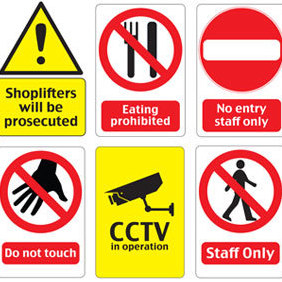 Printable Warning Signs - vector #220355 gratis