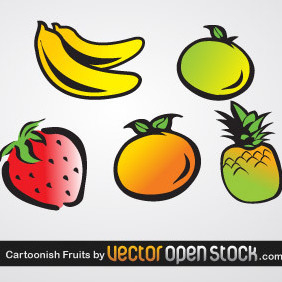 Cartoonish Fruits - Free vector #220625