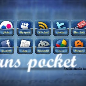 Jeans Pocket Social Media Icon Set - бесплатный vector #221065