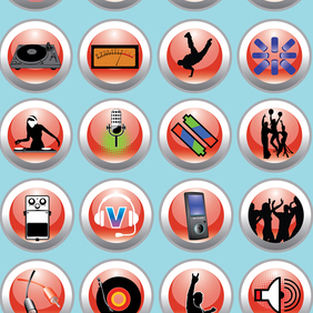Free Vector Music & Nightlife Icon Set - Free vector #221305