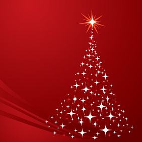 Christmas Tree Background Red - vector gratuit(e) #221875