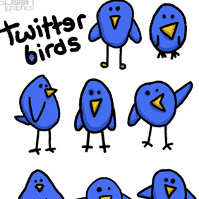 8 Cute & Simple Twitter Birds - vector gratuit #222865