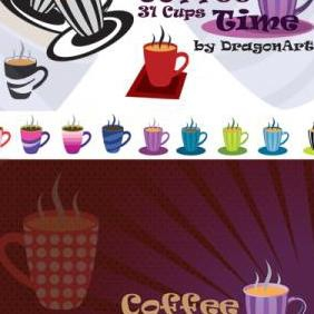Coffee Vector Time 31 Cups - бесплатный vector #223155