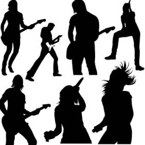 Live Music Vector Silhouettes - Free vector #223925