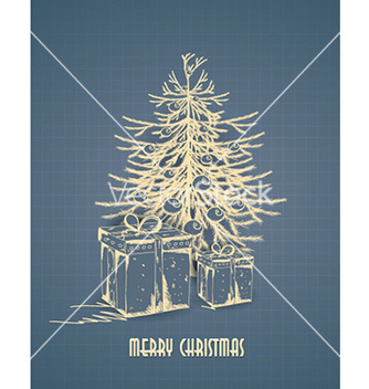 Free christmas with christmas tree vector - vector gratuit #224925