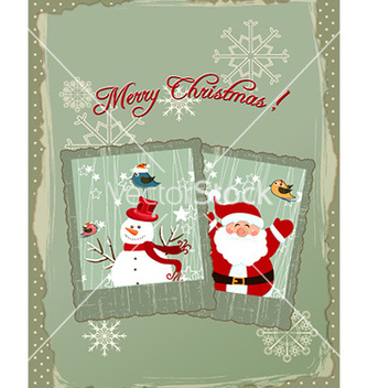 Free christmas with photo frame and santa vector - Free vector #229155