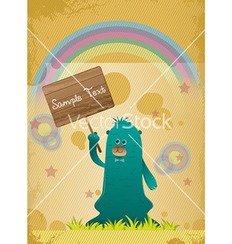 Free cute monster with wooden sign vector - Kostenloses vector #230835