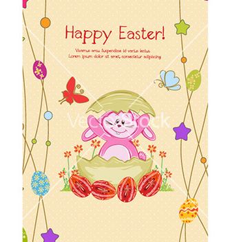 Free bunny with eggs vector - vector gratuit #231825